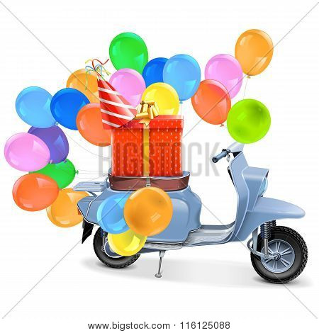 Vector Scooter With Gift And Balloons