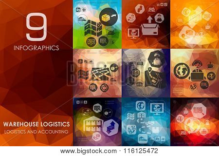 warehouse logistics infographic with unfocused background