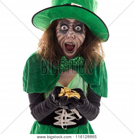 Leprechaun Girl With A Gold Treasure In Her Hands, Isolated On White, Concept Legends And Myth