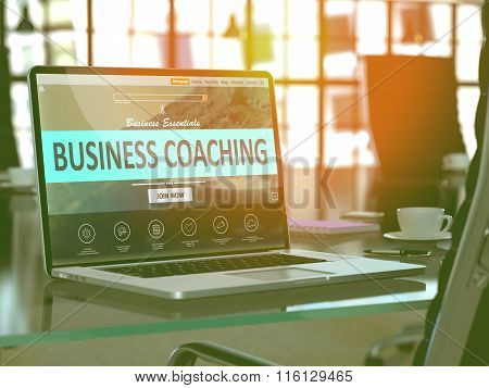 Laptop Screen with Business Coaching Concept.
