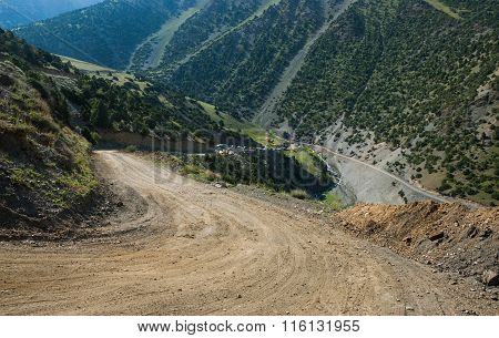 Steep road In Mountains