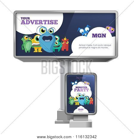 Outdoor advertising billboard and citylight with template design. Vector set
