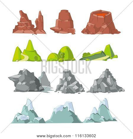 Hills and mountains cartoon vector set