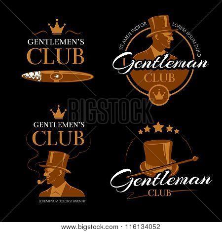 Pipe mens club vector gentlemen logos set