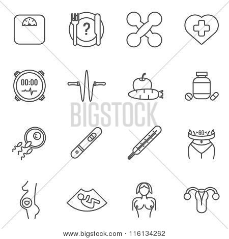 Womans health vector line icons set