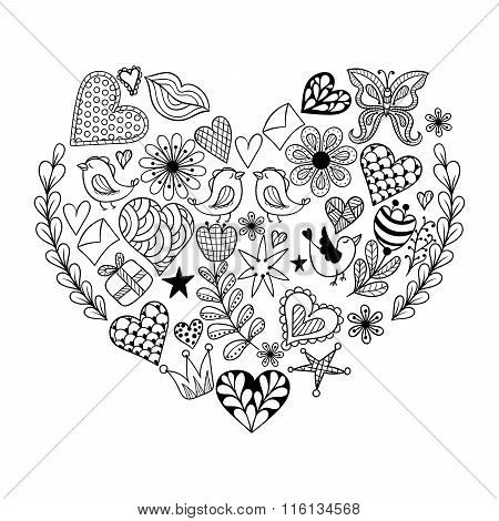 Hand drawnpatterned heart with r