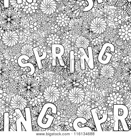 Hand drawn ethnic ornamental patterned Spring seamless