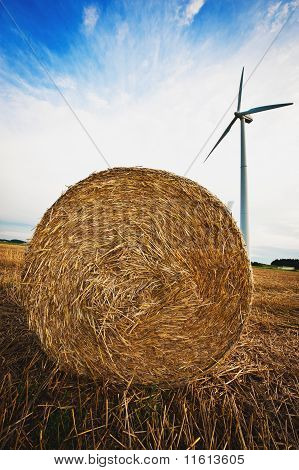 Haybale and Wind Turbine