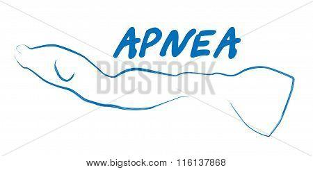 silhouette of freediver apnea logotype
