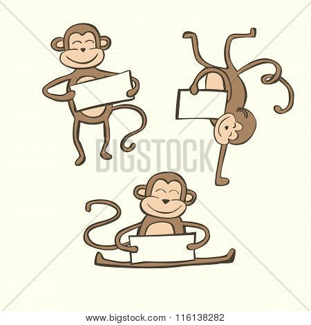 Cute Vector Set Of Doodle Monkeys