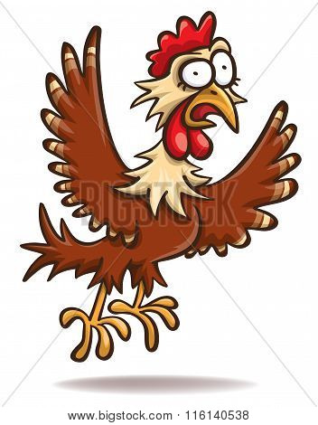 Frightened Cartoon Chicken