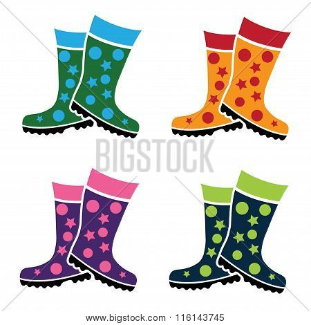 Set Of Colorful Gumboots