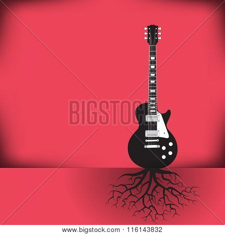 A guitar as a tree with roots