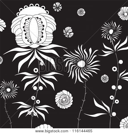Stock Vector Doodle Floral Pattern . Black And White. Template