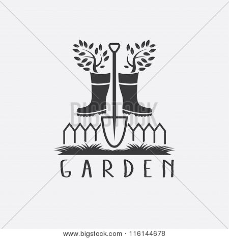 Gardening Concept With Gumboots,tree And Shovel