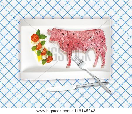 This Is Illustration Diagram Of Beef Cutting