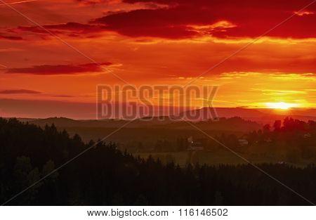 The Setting Sun In A Landscape