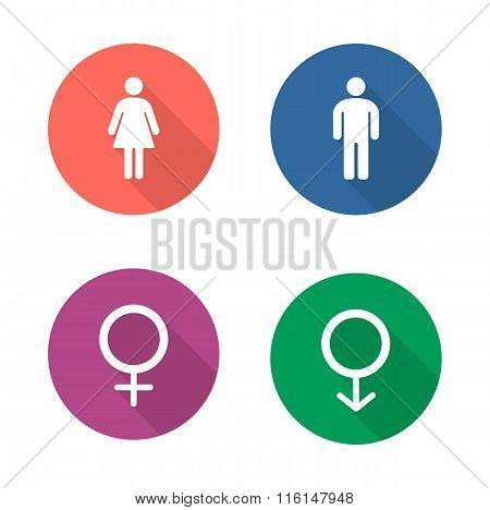 Gender symbols flat design icons set. Wc entrance man and woman long shadow emblems in color circles. Male and female silhouette toilet door signs. Boy and girl pictogram. Vector infographics elements poster