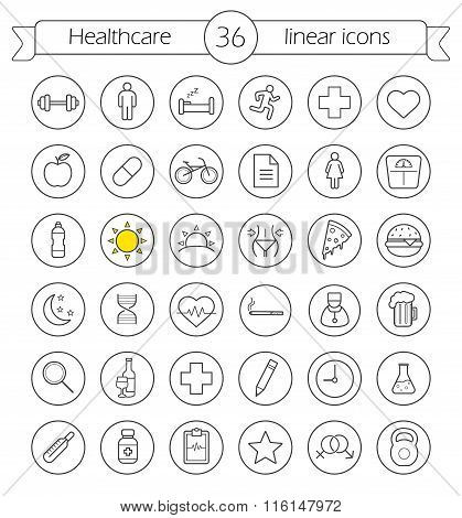 Healthcare linear icons set. Health care and medical thin line drawing symbols in circles. Active lifestyle outline pictograms. Diet and weight loss workout. Fitness and wellness vector illustrations poster
