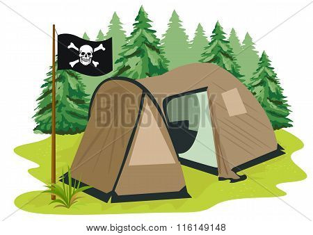 brown camping tent with pirate flag