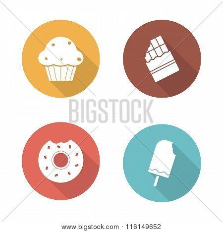 Sweets flat design icons set