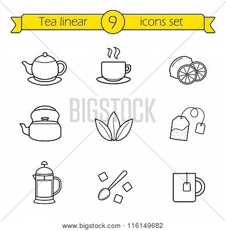 Tea linear icons set