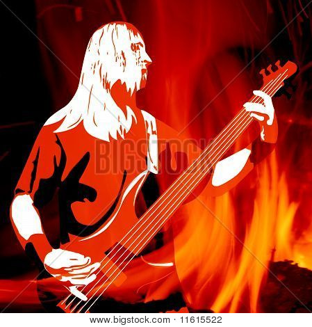 Guitarist Silhouette On Burning Background