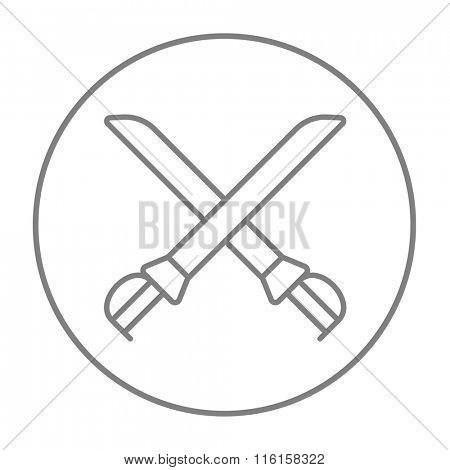 Crossed saber line icon.