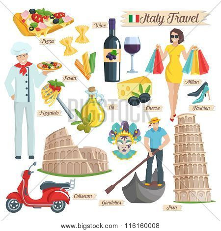 Italy culture travel icons set.