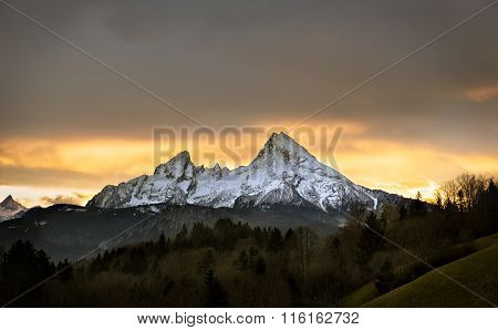 Watzmann At Sunset, Berchtesgadener Land, Germany
