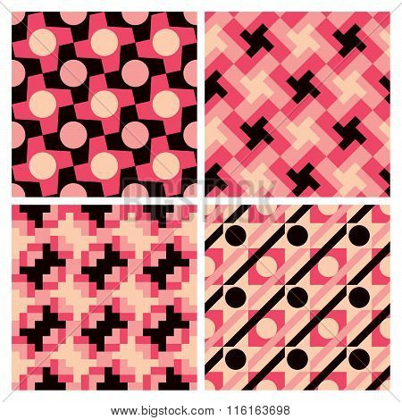 Vector collection of four pink abstract geometric patterns repeat seamlessly.