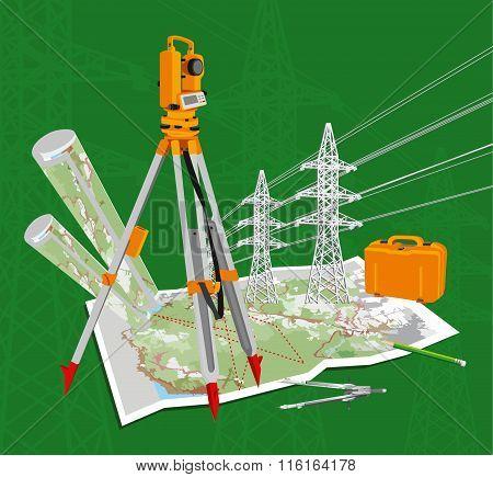 Theodolite, maps, compasses, pencil, power lines.