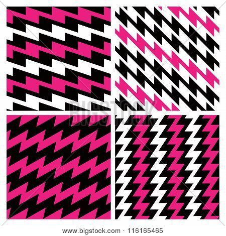 Four seamless zigzag patterns in magenta, black and white repeat seamlessly. Tiles on separate layers and grouped by color.