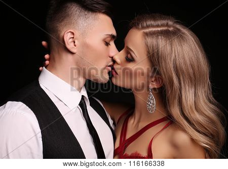 Love Story. Beautiful Sexy Couple. Gorgeous Blond Woman And Handsome Man