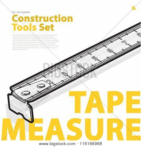 Yellow typography set of construction tools on white. Wire measure tape, nice roulette meter.