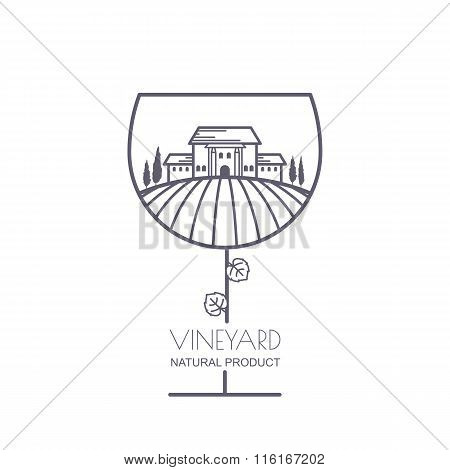 Tuscany Landscape With Vineyard Fields, Villa, Trees In Wine Glass Shape.