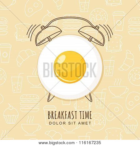 Fried Egg And Outline Alarm Clock On Seamless Background With Linear Food Icons.