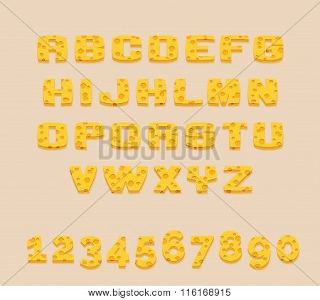 Stylized yummy yellow vector Swiss cheese abc alphabet and digits. Use letters to make your own text