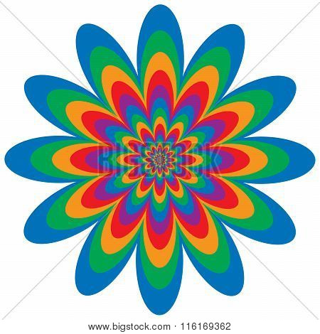 Op Art Flower optical illusion design in primary and secondary colors. Colors are grouped for easy editing.