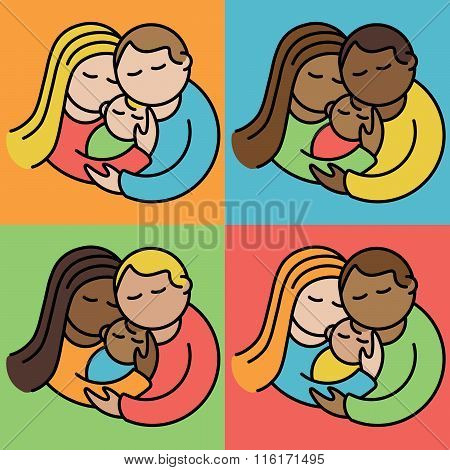 Illustration of multiracial couples holding their babies.