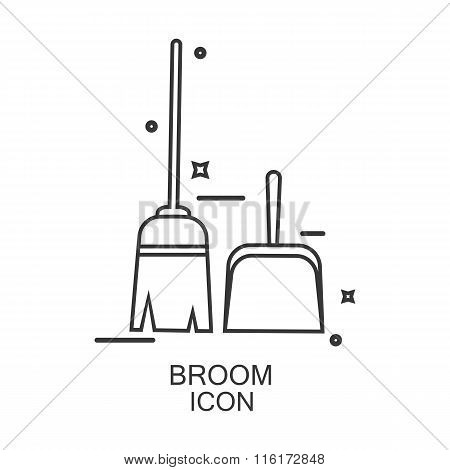 Broom Icon Vector. Line Design