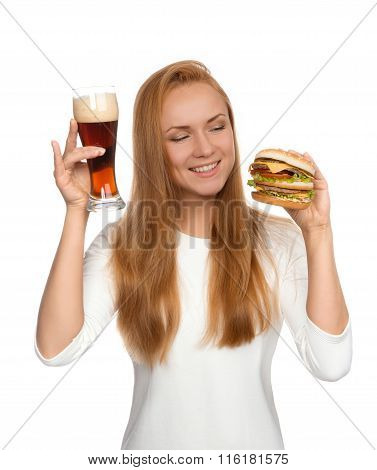 Fast Food Concept. Woman Hold Tasty Unhealthy Burger Sandwich In Hand