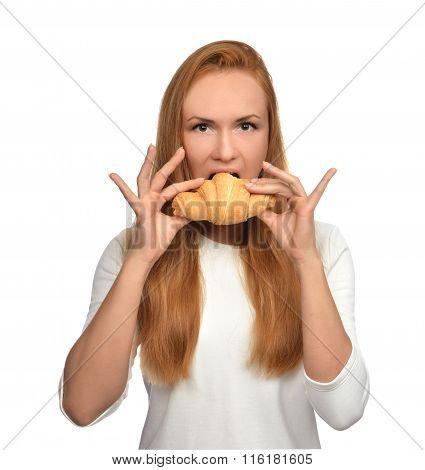 Woman Enjoy Sweet Croissant. Unhealthy Junk Food Dessert Concept