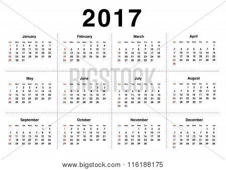 Simple 2017 Calendar / 2017 Calendar Design.