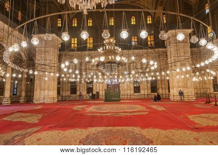 Cairo, Egypt - January 6, 2015: Interior of the Muhamad Ali mosque in Cairo Egypt