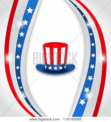 Abstract Background with Uncle Sam's Hat for American Holidays