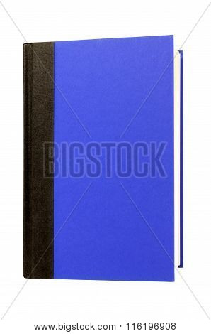 Blue Hardcover Book Black Spine Front Cover Upright Vertical Isolated On White