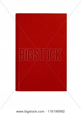 Red Hardcover Book Front Cover Upright Vertical Isolated On White