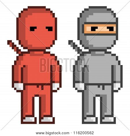 Vector Pixel Art Red And Black Ninja.