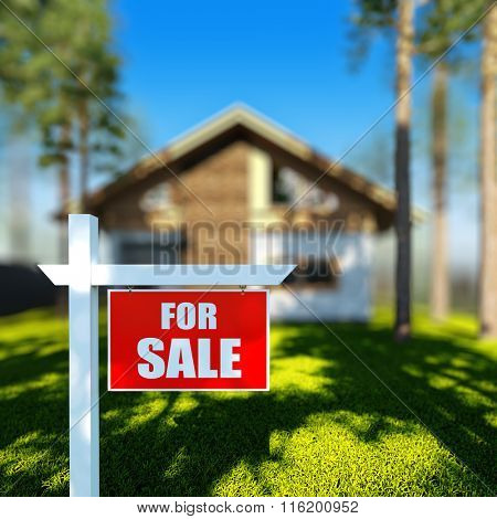 A 3D render illustration of Home For Sale sign in front of new chalet house.